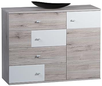 Stella Trading 36-913-D9 Kommode Holz, braun / weiß, 115 x 42 x 12 cm