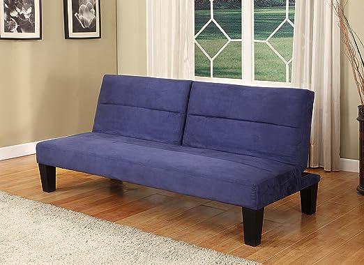 Blue Microfiber Split Back Adjustable Klik Klak Sofa Bed Sleeper