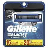 Gillette Mach3 Turbo Men's Razor Blades, 15 Blade Refills