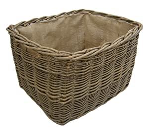 Massive, Extra Large, Robust, Hessian Lined, Rectangular Log Basket,Integral Handles Steamed Ash       reviews and more information
