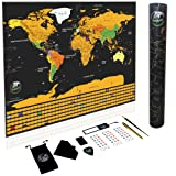 Scratch Off World Map Travel Poster With Us States Outlined - Premium Gold Foil On Laminated Paper With Colorful Details And Included Best Set Of Accessories - Perfect Gift For Travelers, By Dolfynn