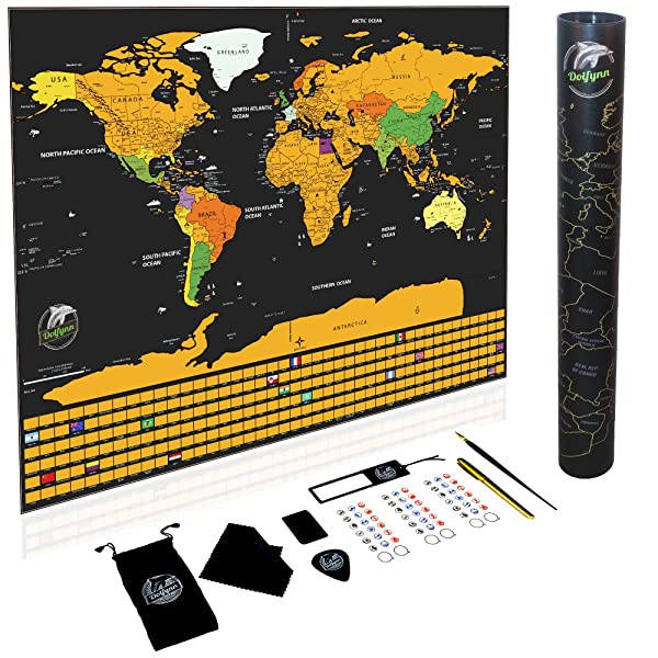 Scratch off world map travel poster with us states outlined scratch off world map travel poster with us states outlined premium gold foil on laminated paper gumiabroncs Images