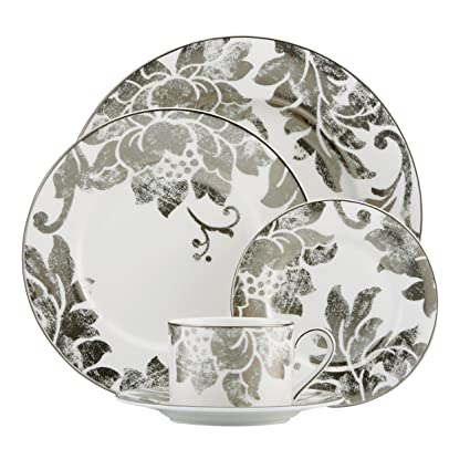Platinum Silver Burnished Floral Applique 5-Piece Place Setting By Lenox