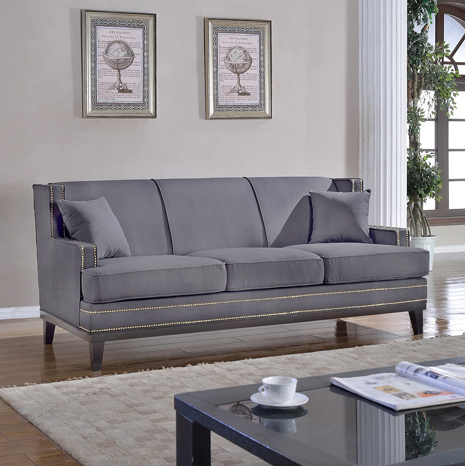 Classic Traditional Soft Linen Sofa with Nailhead Trim - Living Room Furniture (Light Grey)