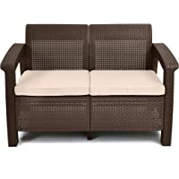 Keter Corfu Love Seat All Weather Outdoor Patio Garden Furniture with Cushions (Brown)