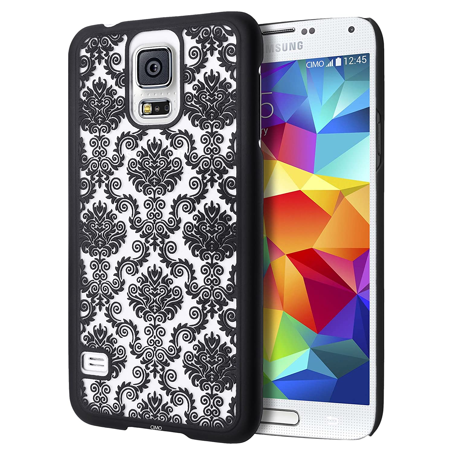 Cimo Samsung Galaxy S5 Case [Damask Series] Design Pattern Rubber Coating Premium ULTRA SLIM Hard Cover for Galaxy S5 / Galaxy SV / Galaxy S V (2014) - Black