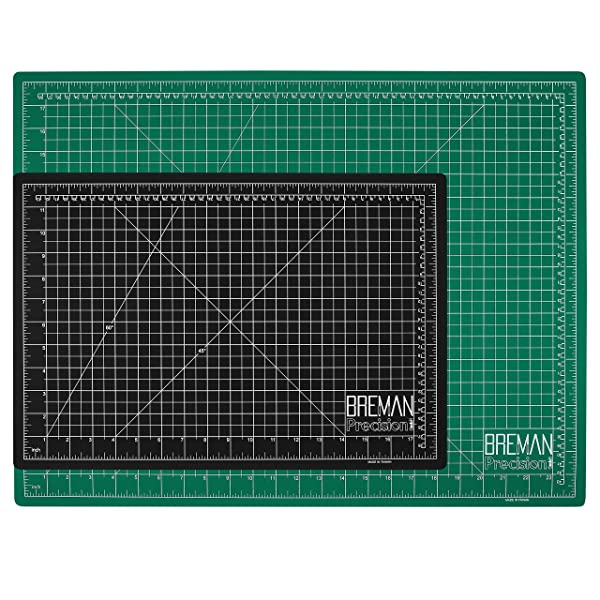 Breman Precision Self Healing Cutting Mats 12x18 and 18x24 Inches - 2 Pack I Sewing Scrapbooking Quilting Fabric Rotary Cutting Mats I 2-Sided 5-Ply PVC Craft Mats with Grid Lines I Black/Green (Tamaño: A3(18X12)/A2(24X18) Inches)