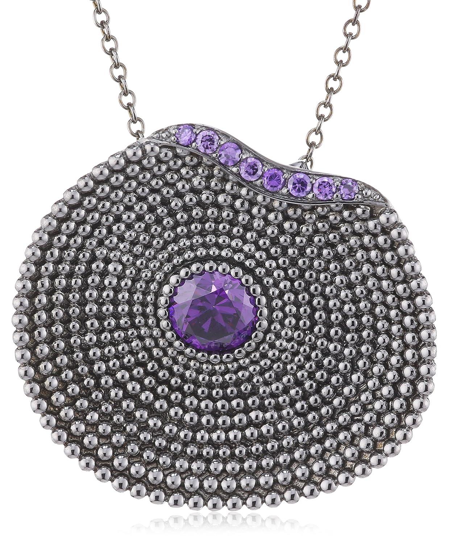 caï Damen-Collier 925 Sterlingsilber schwarz rhodiniert Zirkonia violett 45 cm C1293N/90/C6/45 online kaufen