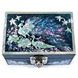 Jewelry Box Ring Organizer Mother of Pearl Inlay Mirror Lid Peacock (Blue) (Color: Blue)