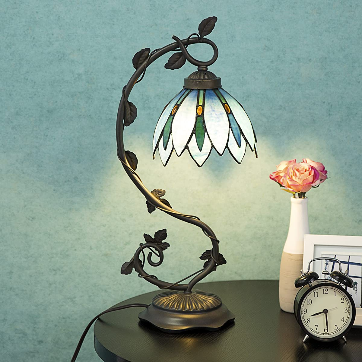Cloud mountain tiffany style arched table lamp light blue floral tiffany style table lamp light blue floral leaf lotus shape stained glass desk lamp izmirmasajfo