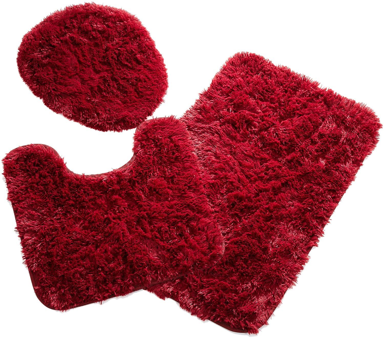 Luxury  Quincy Super Shaggy Chilli Pepper Red Washable 2piece Bath Rug Set