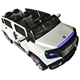 Two-Seater 4-Door Premium Ride On Electric Toy Car For Kids - 12V10A - LED Lights - MP3 - RC Parental Remote Controller - Leather Seat - Suitable For Boys & Girls - White