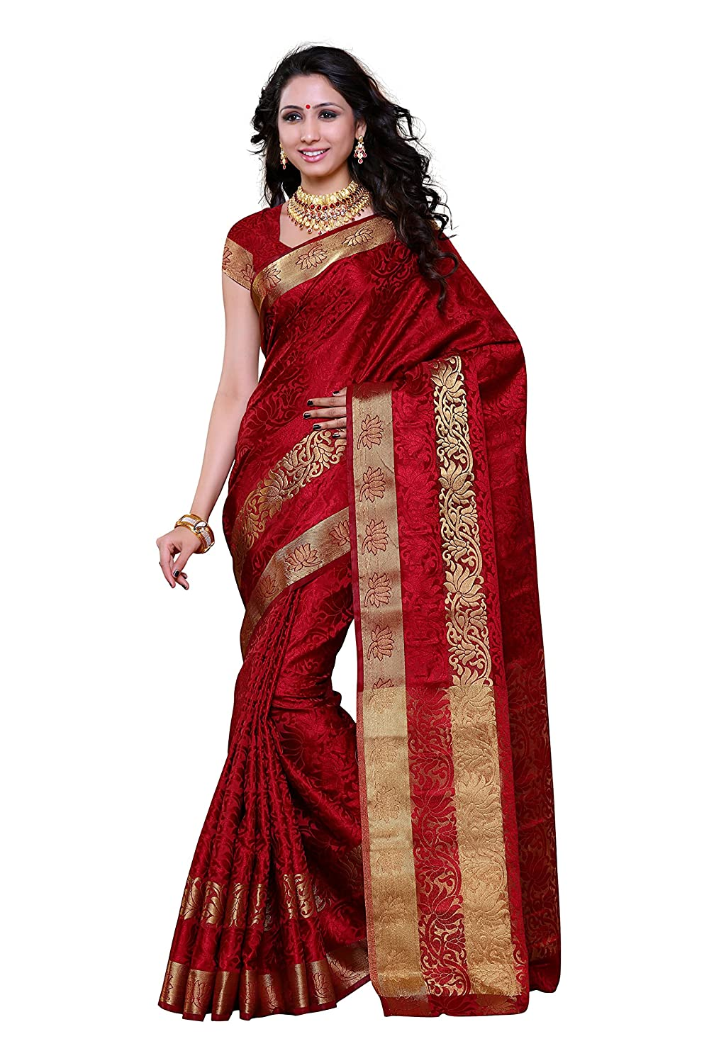 Mimosa Women's Artificial Silk Saree kanchipuram Uppada style