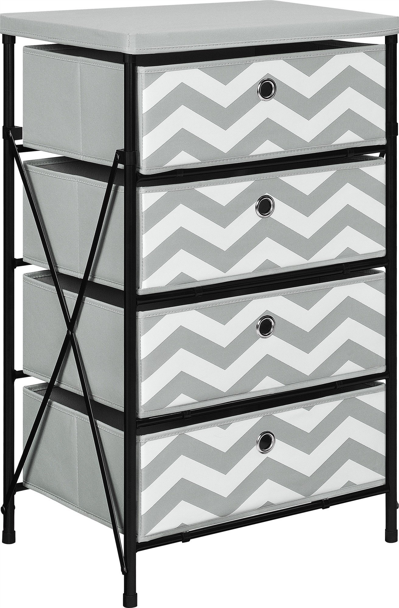 Etonnant Altra Furniture 4 Bin Kids Storage System With Gray And White Chevron  Pattern