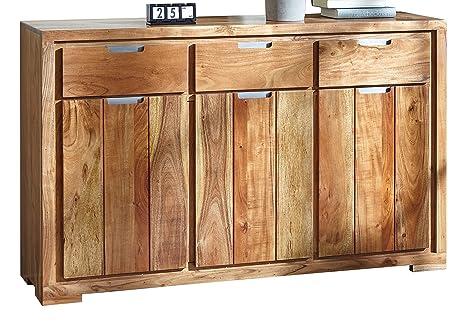 Wolf Möbel 2820 Kommode mit 3 Schubladen / 3 Turen - 2 Einlegeböden, Holz, natur, 40.0 x 145.0 x 89.0 cm