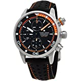 Maurice Lacroix Pontos S Extreme Diver Chronograph Mens Watches - 43mm Black Dial Black Leather Band Swiss Automatic Dive Watch For Men PT6028-ALB31-331-1
