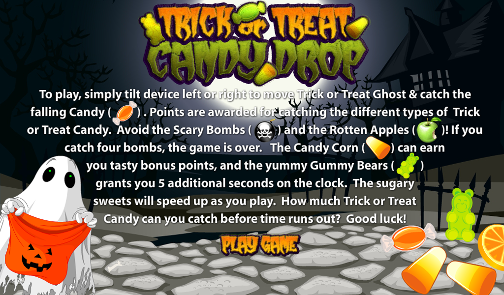 Trick or Treat Candy Drop Halloween Kids App Tilt Game(Kindle Tablet Edition)
