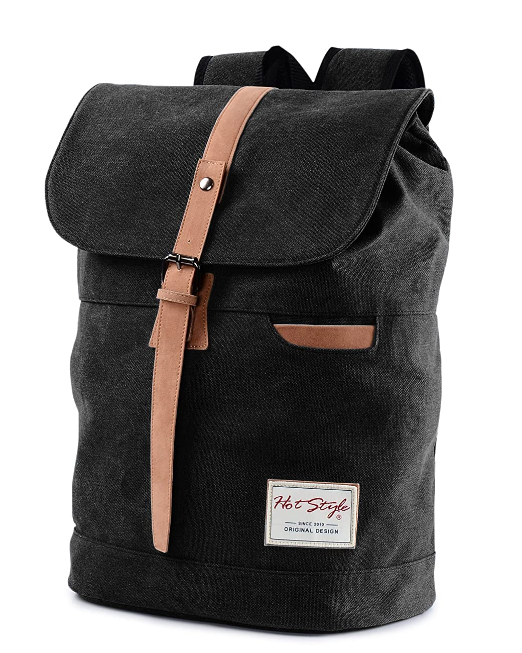 Vintage Canvas Backpack - HotStyle Waterpoof Travel Rucksack Fits 15.6 inch Laptop - Black 0