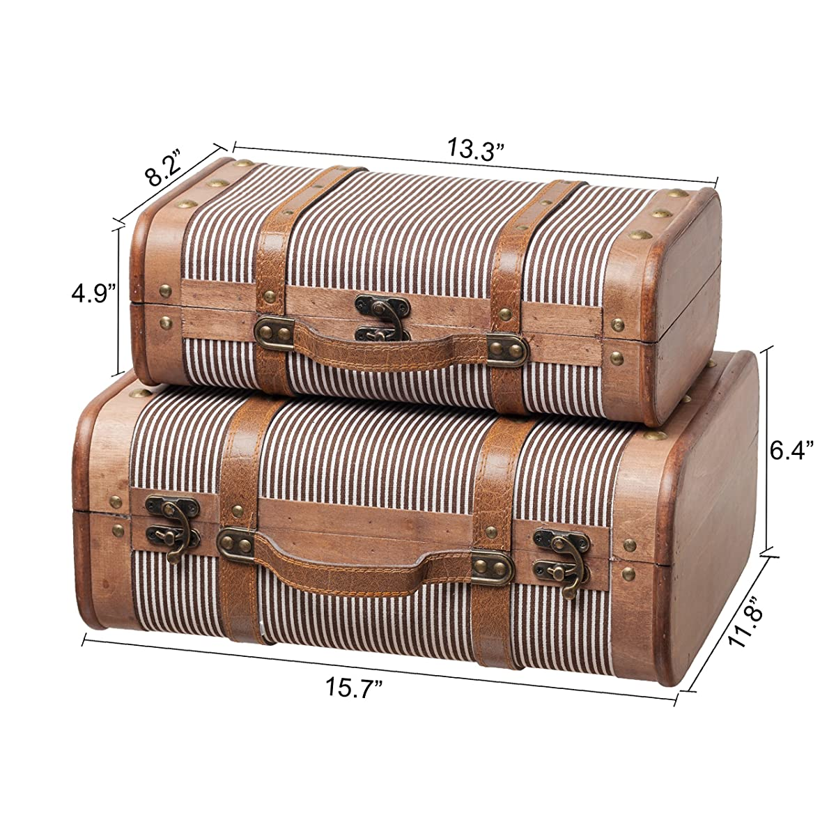 SLPR Decorative Suitcase with Straps (Set of 2, Striped) | Old-Fashioned Antique Vintage Style Nesting Trunks for Shelf Home Decor Birthday Parties Wedding Decoration Displays Crafts Photoshoots