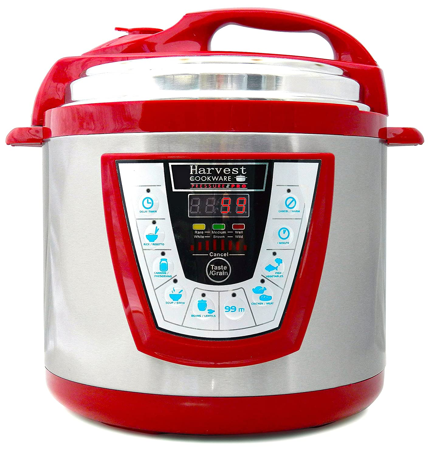 Harvest Cookware Pressure PRO Automatic 1 Touch Pressure Cooker 6-Quart, Red