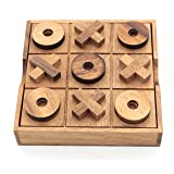 BSIRI TicTacToe Classic Board Games Noughts and Crosses Family Brain Teaser Puzzle Coffee Table For Adults And Children All Ages (Color: Natural Wood)