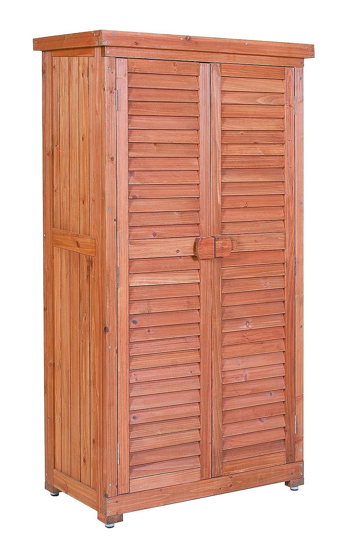 Leco Aufbewahrungsschrank für den Außenbereich, Größe: Höhe 160 cm, Breite 87 cm, Tiefe 46.5 cm, mahagonifarben günstig kaufen