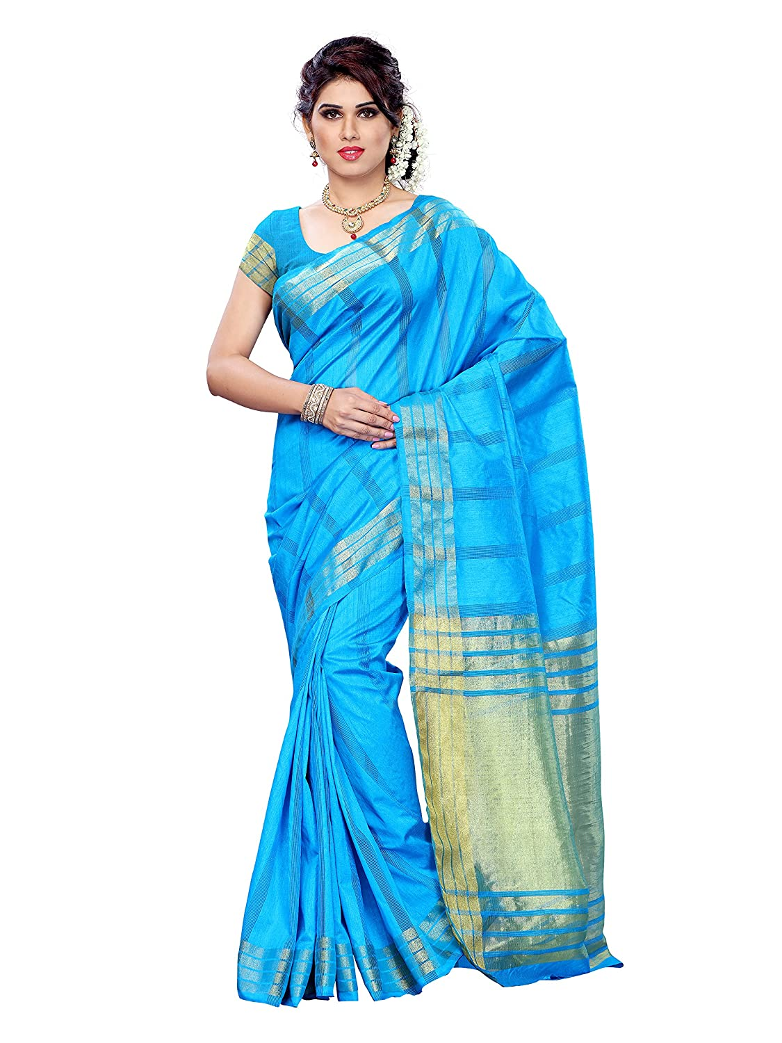 Mimosa Women Tussar Silk Saree With Plain Blouse