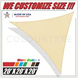 ColourTree 20' x 20' x 20' Beige Sun Shade Sail Triangle Canopy – UV Resistant Heavy Duty Commercial Grade Outdoor Patio Carport (Custom Size Available)