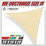 ColourTree 20' x 20' x 20' Beige Sun Shade Sail Triangle Canopy – UV Resistant Heavy Duty Commercial Grade Outdoor Patio Carport (Custom Size Available)