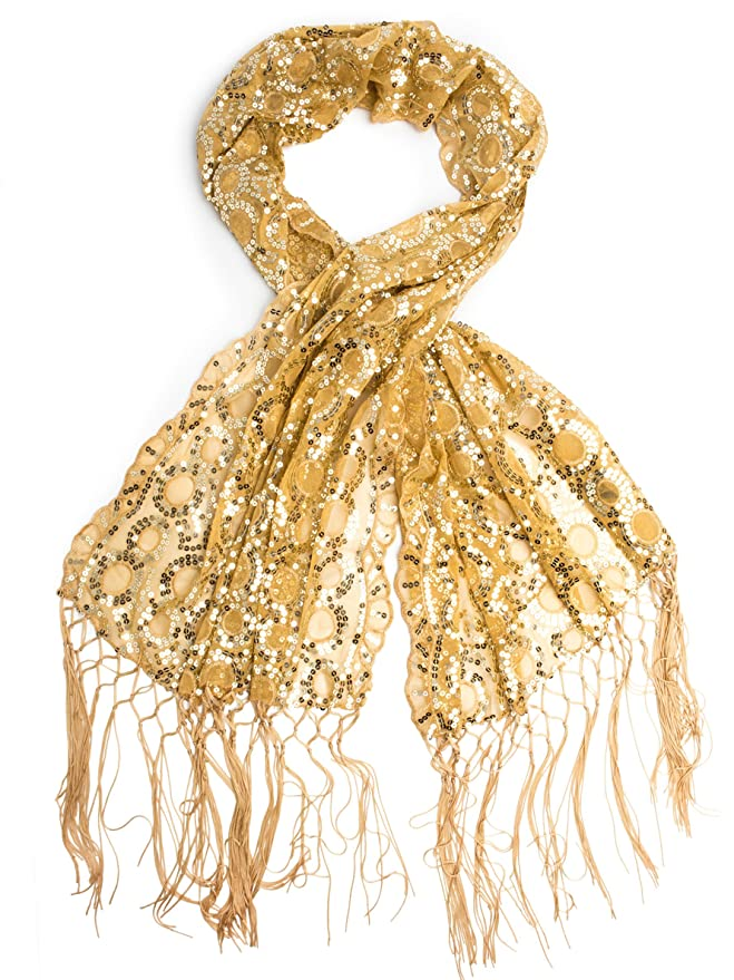 Vintage Scarves- New in the 1920s to 1960s Styles Fringe Sequin Evening Wrap  AT vintagedancer.com