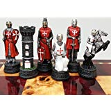 Medieval Times Crusades Knight RED & WHITE Set of Chess Men Pieces Hand Painted W/ Maltese Cross by HPL (Color: Red & White)