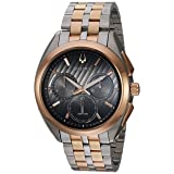 Bulova Men's 'Curv' Quartz Stainless Steel Casual Watch, Color:Two Tone (Model: 98A160) (Color: grey)