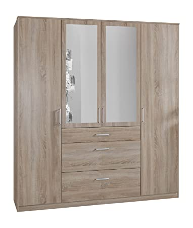 Wimex 140630 Kleiderschrank, 180 x 199 x 58 cm, 4-turig mit zwei breiten und einen schmalen Schubkasten, 2 Spiegel, Front und Korpus eiche sägerau Nachbildung