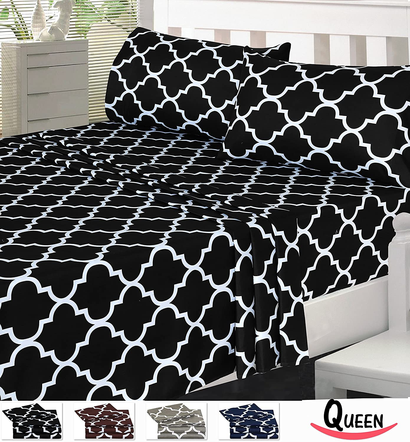 Black bed sheets pattern - Printed Bed Sheet Set Queen