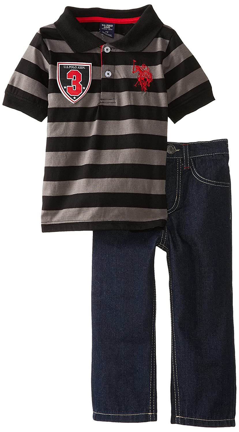 U.S. Polo Assn. Little Boys' Wide Stripe Jersey Polo and Five-Pocket Denim Jean