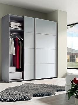 Armario ropero grande color blanco brillo de 2 puertas correderas, tiradores aluminio, altillo y barras incluidas para dormitorio. 200cm alto x 150cm ancho x 62cm fondo
