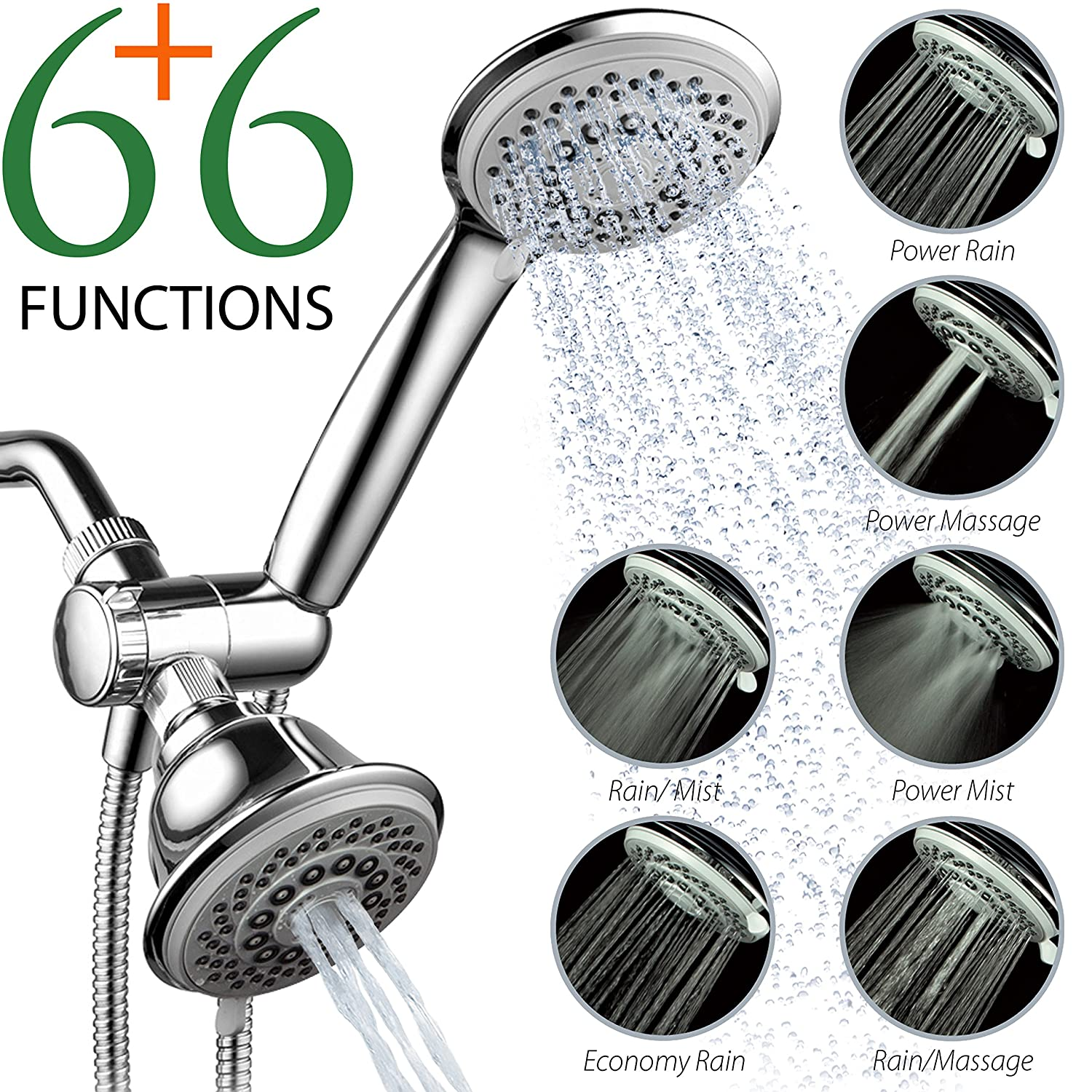 AquaStorm by HotelSpa 30-Setting SpiralFlo 3 Way Luxury Shower Head Combo
