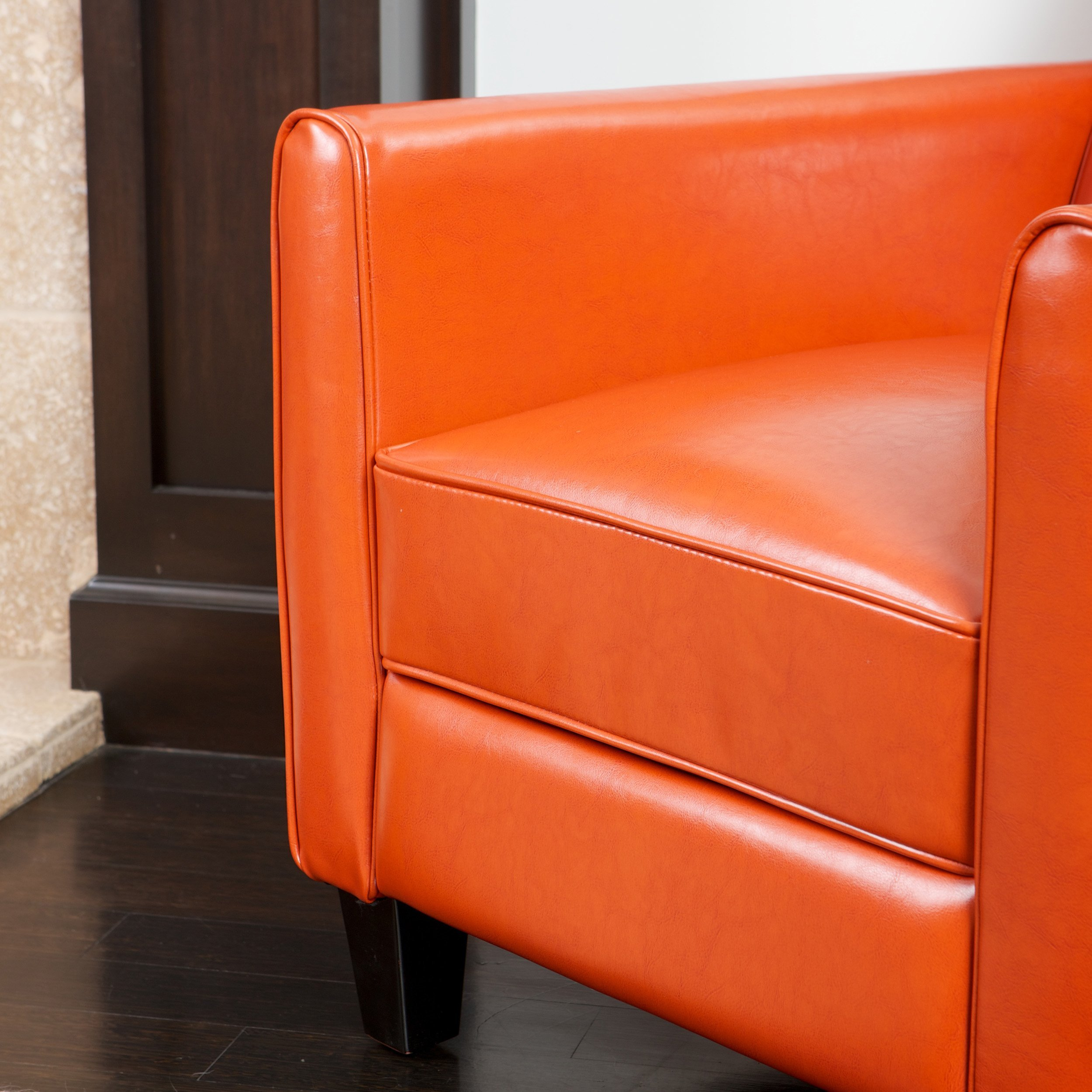 Lucas Orange Leather Recliner Club Chair