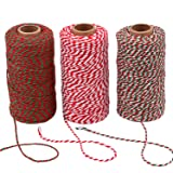 Sunmns 3 Roll Christmas Twine Cotton String Rope Cord for Gift Wrapping, Arts Crafts, 984 Feet (Multicolor B) (Color: Multicolor B)