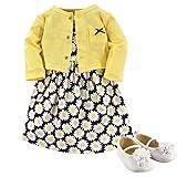 Hudson Baby Baby Girls' 3 Piece Dress, Cardigan, Shoe Set, Daisies, 3-6 Months