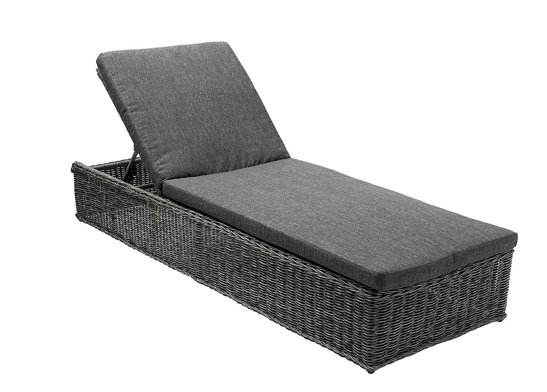 DA'CORE 516150, Sonnenbett 206x72cm, Aluminium + Rundgeflecht grau, mit Auflage