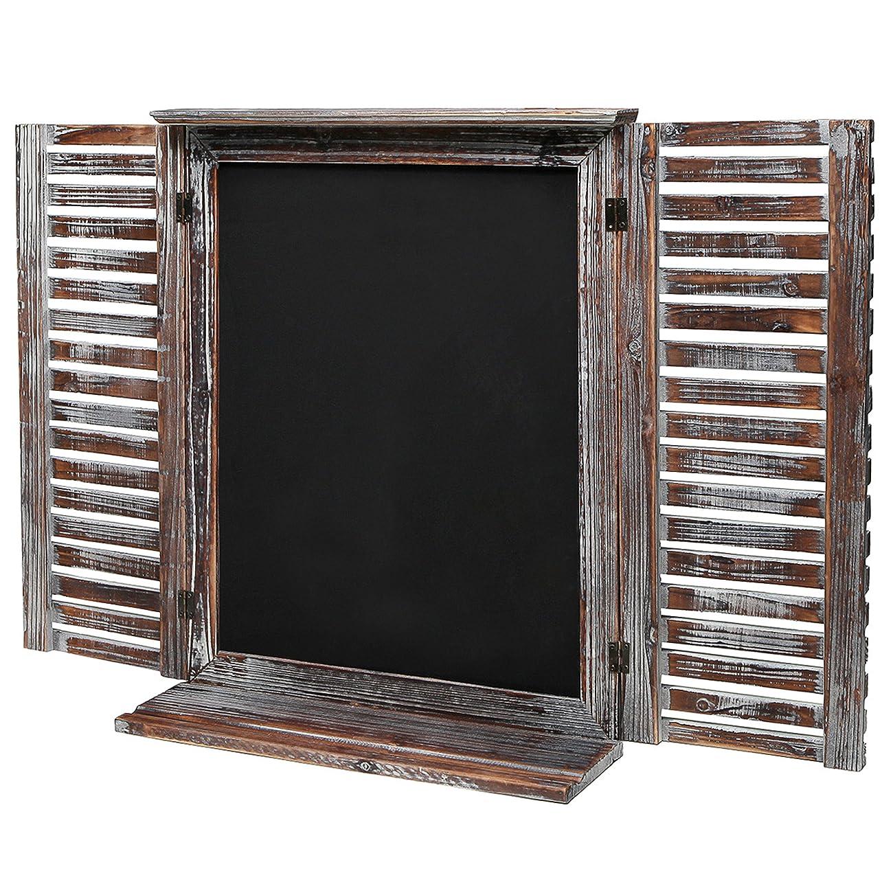 Rustic Vintage Wood Standing Chalkboard / Wall Mounted Blackboard w/ Folding Shutter Doors - MyGift® 1