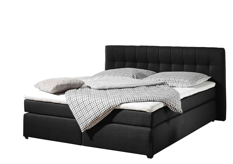 Maintal Betten 236095-3134 Boxspringbett Jeremy 180 x 200 cm inklusive Topper, schwarz