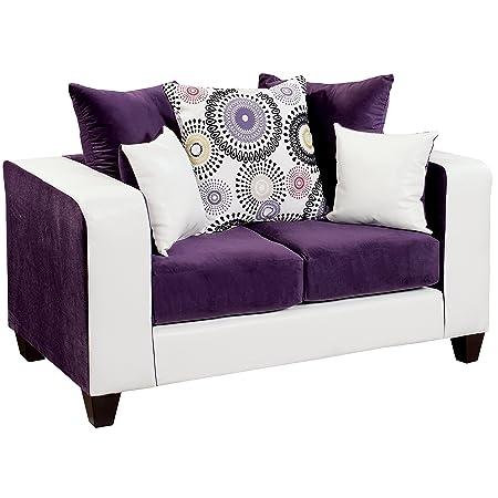 Flash Furniture Riverstone Implosion Velvet Loveseat, Purple