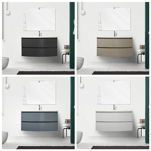 Mobile arredo bagno Curvet 100 cm disponibile in 4 colori 2 cassetti lavabo in mineralmarmo
