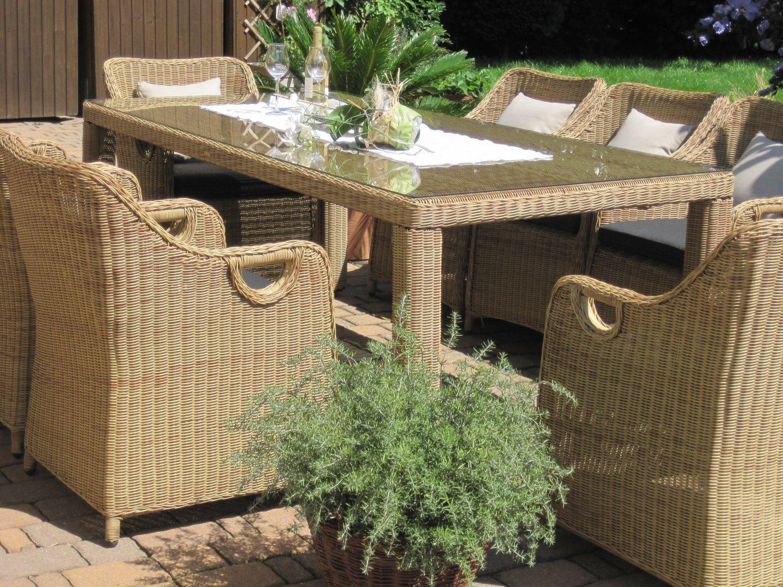 Sitzgruppe Garten Garnitur Tisch und 6 Sessel / Stühle Rattan Polyrattan Geflecht Gartenmöbel natur-beige-braun Neapel6
