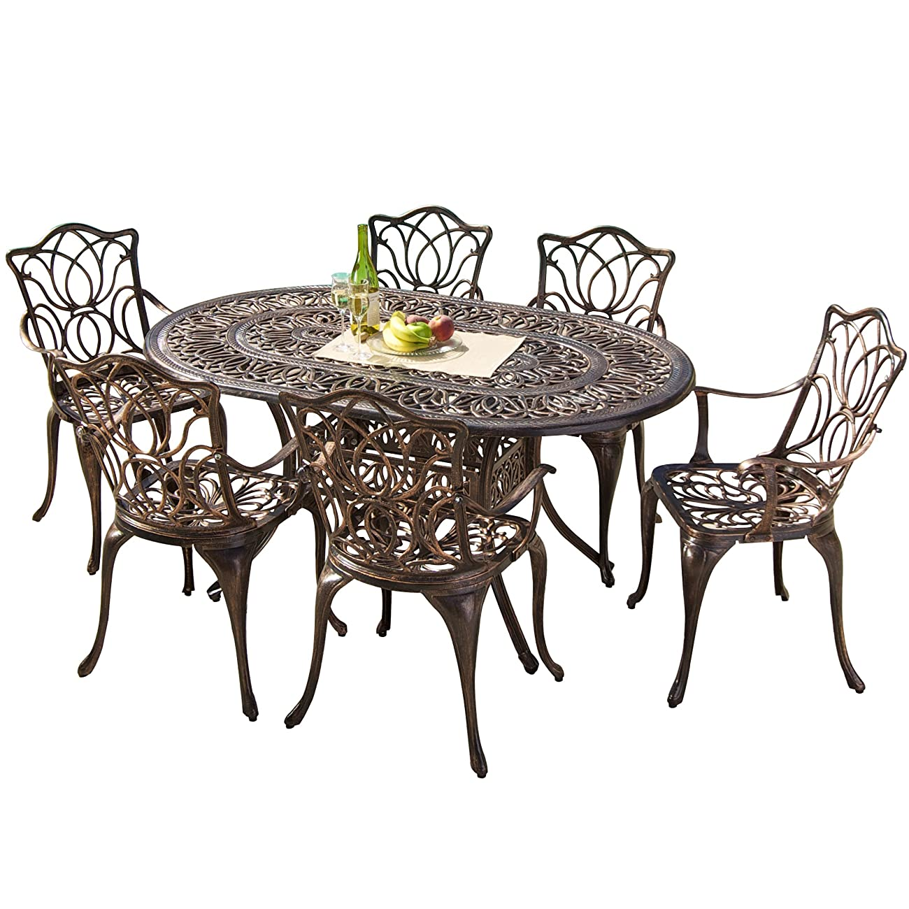 Gardena Cast Aluminum Outdoor Dining Set (Set of 7) 0