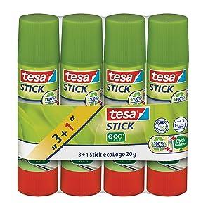 Tesa 57088-00200-00 - Lote de pegamentos de barra (3 unidades + 1 gratis, 20 g), color blanco   revisión y más información