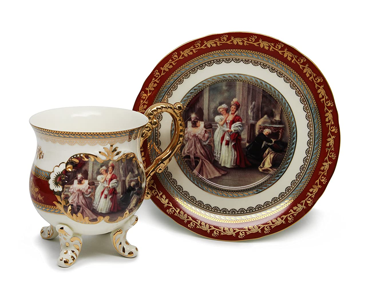 Royal Porcelain 15-Piece Antique RED Vintage Dining Tea Cup Set, Service for 6, Handmade & Hand-Painted, 24K Gold Bone China Tableware 3