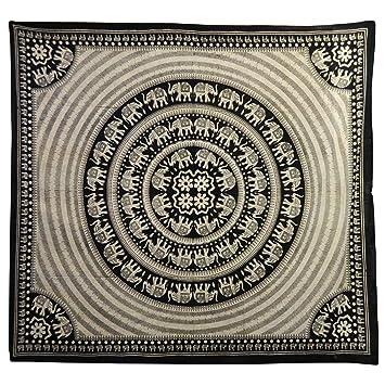 tagesdecke schwarz wei 230 x 210 cm indische decke. Black Bedroom Furniture Sets. Home Design Ideas